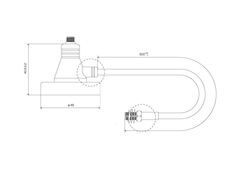 マグネット基台付 同軸ケーブル:CBL-SMA-SMA-MB-100